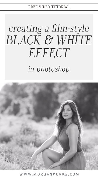 Learn how to convert a photo to black & white, then add a soft matte effect, and grain with this free tutorial on creating a film-style b&w edit in Photoshop! | Find more photography tips and free tutorials at www.morganburks.com