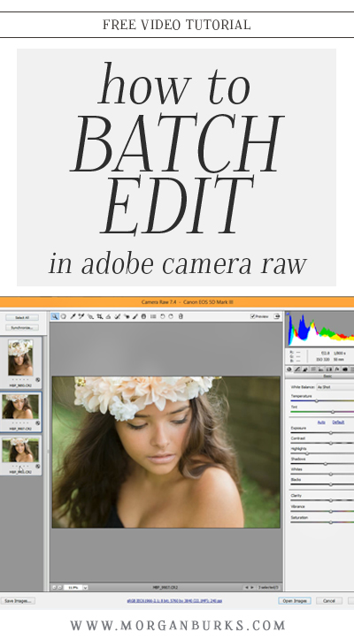 Learn how to batch edit in Adobe Camera RAW with this free tutorial! | Find more photography tips and editing tutorials at www.morganburks.com