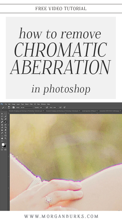Noticing weird purple fringe in your images? This free tutorial will show you how to remove Chromatic Aberration in Photoshop! | Find more free photography tips and Photoshop tutorials at www.morganburks.com