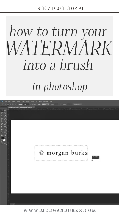 With this free tutorial, learn how to turn a text watermark into a brush in Photoshop for a quick, easy application! | Find more photography tips and free Photoshop tutorials at www.morganburks.com