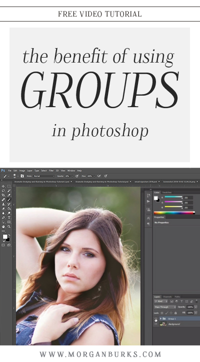 This tutorial will explain the benefit of using groups in Photoshop. Not only will they help you keep all of your layers organized, they also allow you to adjust multiple layers at once. | Find more photography tips and free Photoshop tutorials at www.morganburks.com