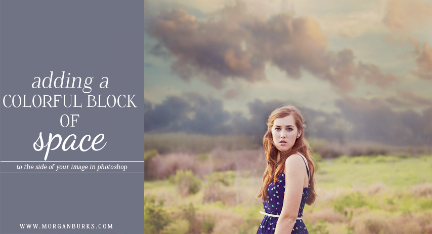 This free tutorial will walk you through adding a colorful block of negative space to your image in Photoshop. This technique is great for creating graphics, flyers, or for displaying your photos on social media.   Find more free tutorials at www.morganburks.com