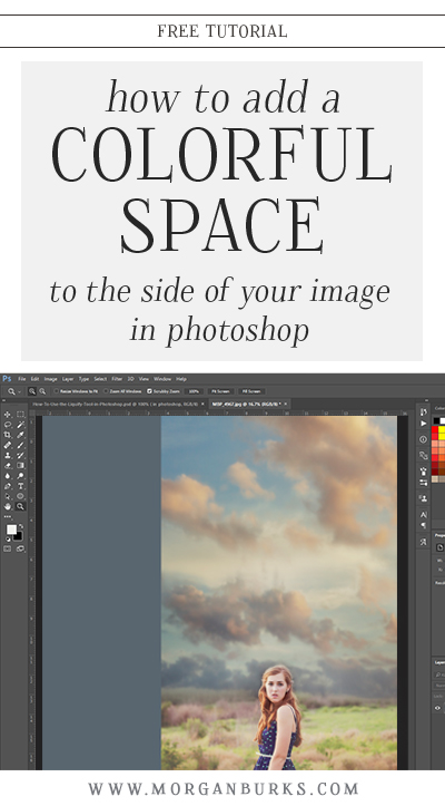 This free tutorial will walk you through adding a colorful block of negative space to your image in Photoshop. This technique is great for creating graphics, flyers, or for displaying your photos on social media. | Find more free tutorials at www.morganburks.com