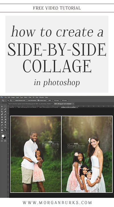 Learn how to create a side-by-side collage in Photoshop with this free video tutorial! | Find more free tutorials at www.morganburks.com