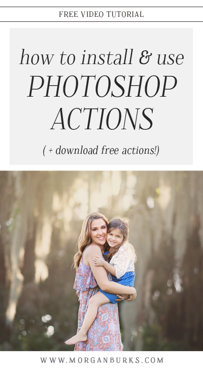 In this tutorial, I'll walk you through installing and using the One Fell Swoop Photoshop Actions! Download the free sample collection to try them out on your own photos! | Find more free products and tutorials at www.morganburks.com