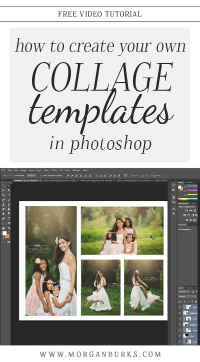 Learn to create your own collage templates! I'll show you how to create a template in Photoshop and use clipping masks to insert your images into the spaces. | Find more free tutorials at www.morganburks.com