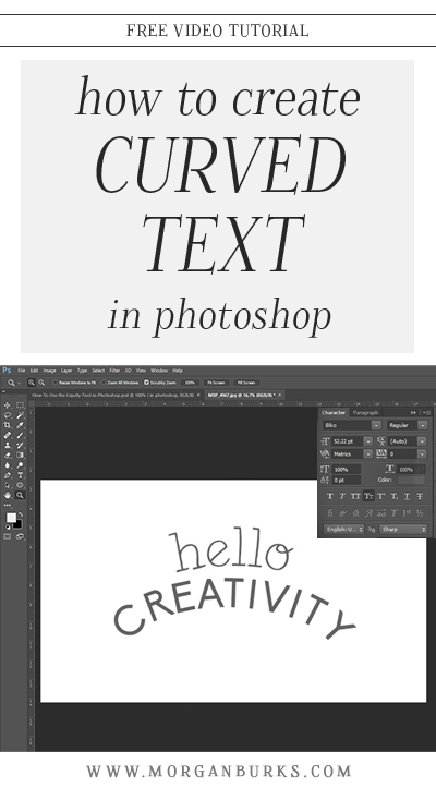 Learn how to create curved text in Photoshop with this video tutorial. | Find more free tutorials at www.morganburks.com