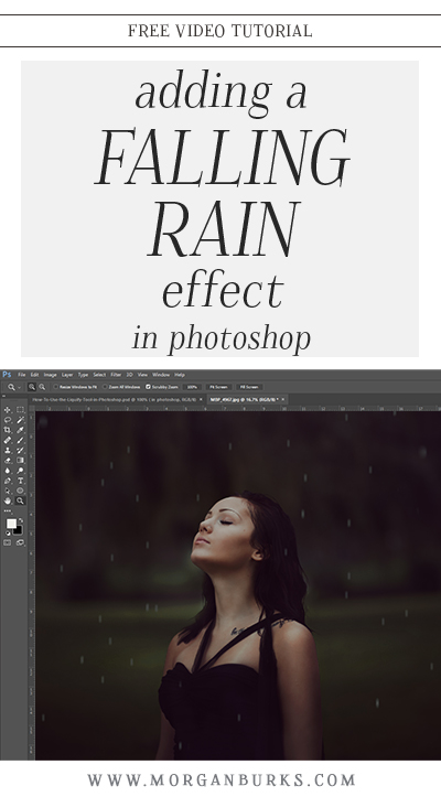 Want to create the look of rain on a photo? In this tutorial, I'll walk you through the process of adding a falling rain effect to your images in Photoshop. | Find more free tutorials at www.morganburks.com