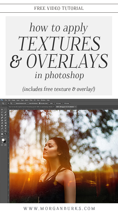 In this tutorial, I'll show how to apply textures and overlays in Photoshop. Plus, download the texture & overlay I use in the video to try out for yourself! | Find more free products and tutorials at www.morganburks.com