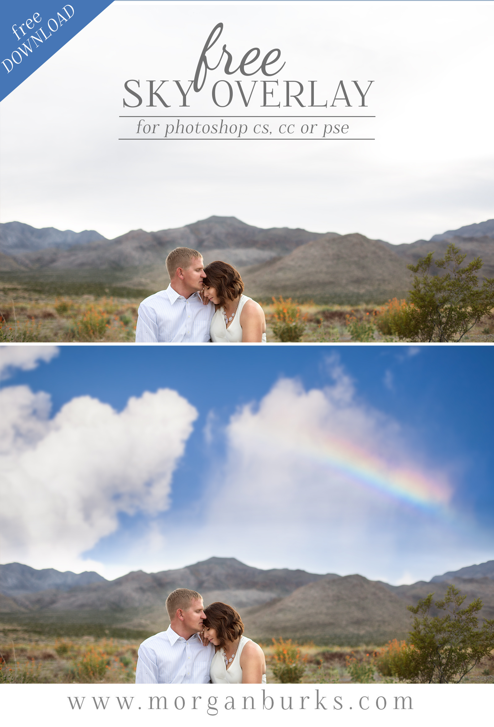 Add a unique blue sky and rainbow effect to your photos with this Free Sky Overlay for Photoshop & Elements!