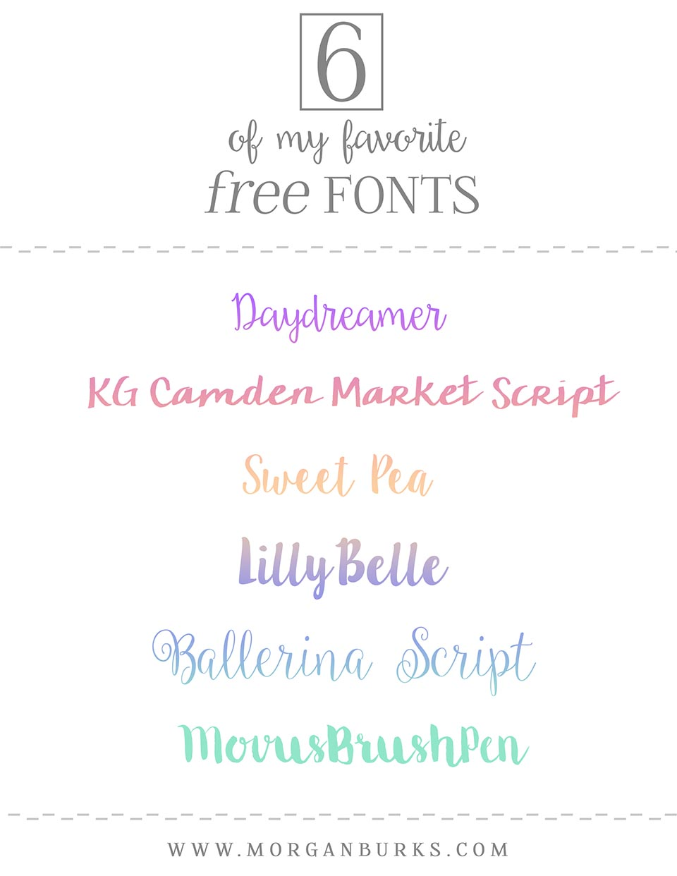 6 of my favorite free fonts! Whether you use them for branding, graphics, or if you're just a font hoarder like me, you can never have enough fonts!
