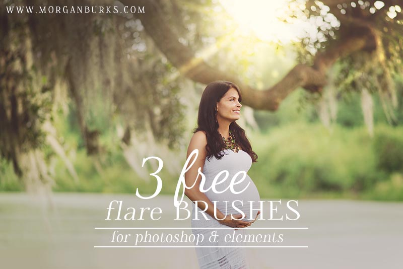 Photographers: Add fun light effects to your photos with these Free Flare Brushes for Photoshop and Elements! | Find more free editing products for photographers at www.morganburks.com