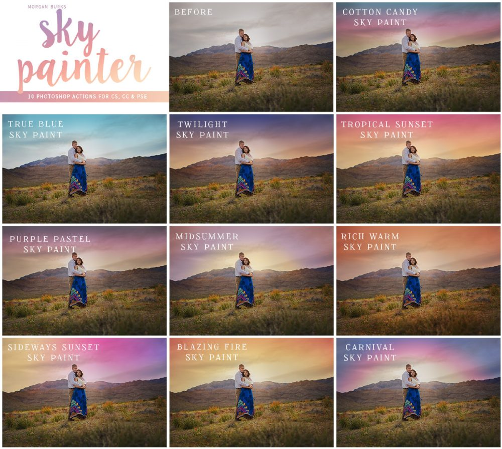 Paint gorgeous color onto plain skies with just the quick swipe of a brush using the MB Sky Painter Photoshop Actions.