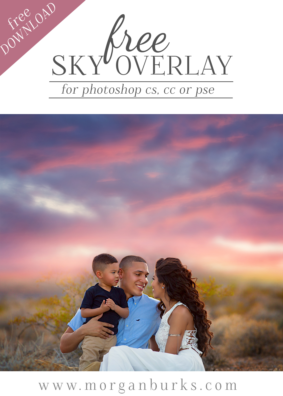 Download this stunning free sunset sky overlay and transform plain skies into something beautiful.