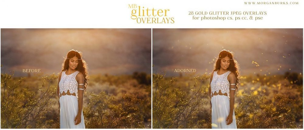 Add gorgeous glitter to your photos (without the mess!) using the MB Glitter Overlays!