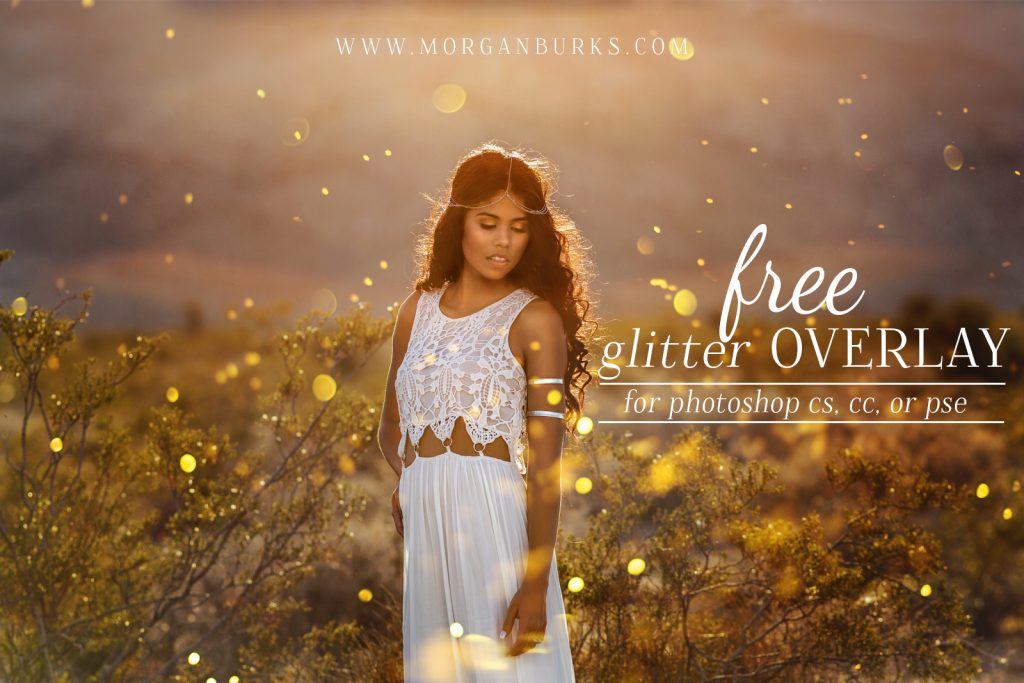 Photographers: Add gorgeous glitter to your photos without the mess with this Free Glitter Overlay for Photoshop! | Find more free editing products for photographers at www.morganburks.com