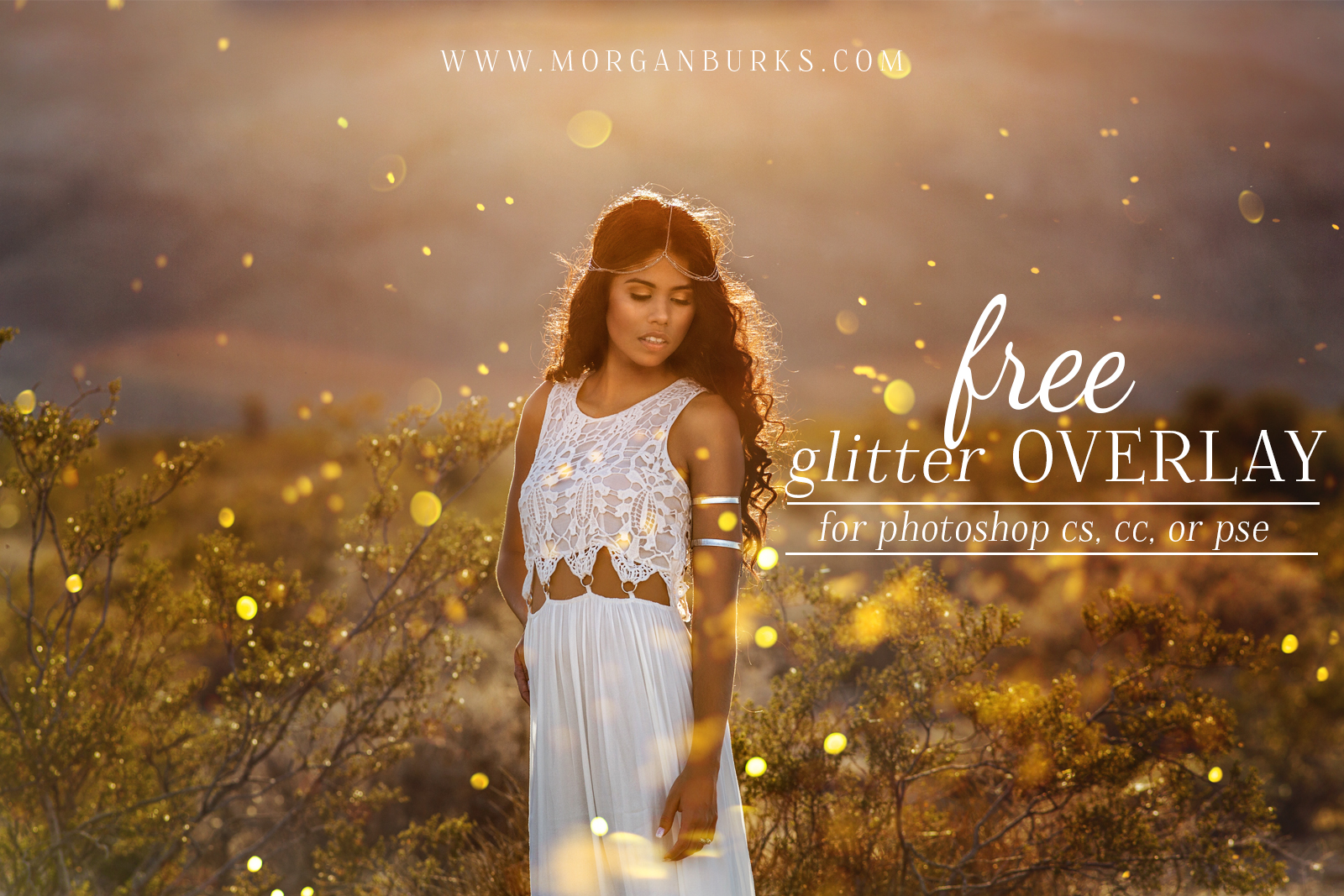 With this Free Glitter Overlay For Photoshop, you can add gorgeous golden glitter to your photos -- without the mess!