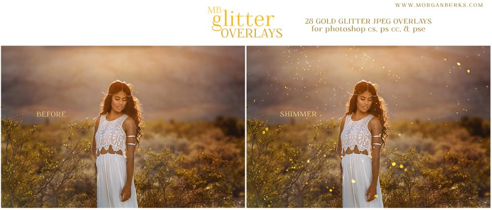 Add a gorgeous glitter effect to your photos without the mess using the MB Glitter Overlays!