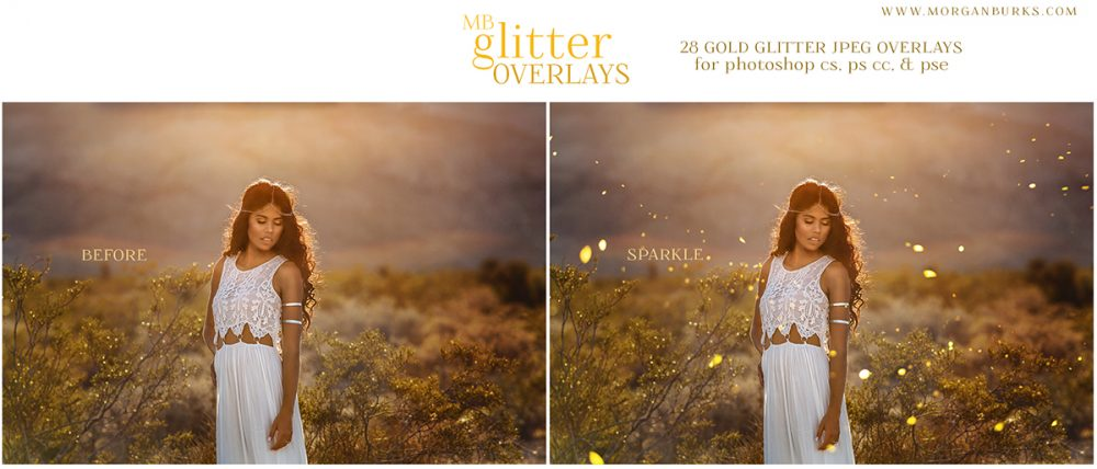 Add gorgeous glitter to your photos without the mess using the MB Glitter Overlays!