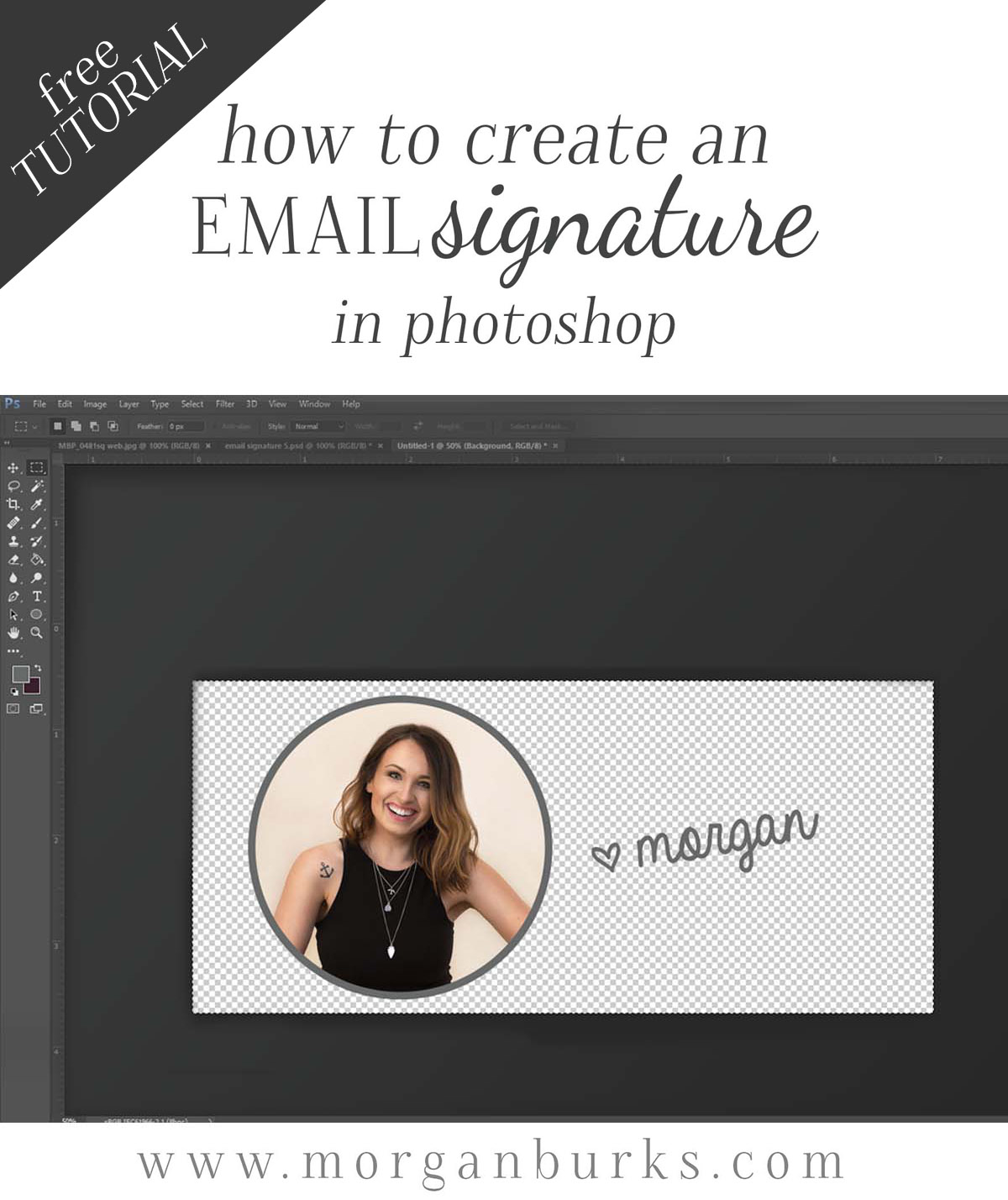 In this video tutorial, I'll show you how to create an email signature image in Photoshop. Then you can start displaying your smiling face in every email you send!