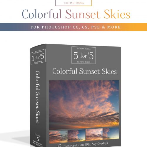 Colorful Sunset Sky Overlays for Photoshop & Elements - $5 Editing Products for Photographers. Easy to use and affordable!
