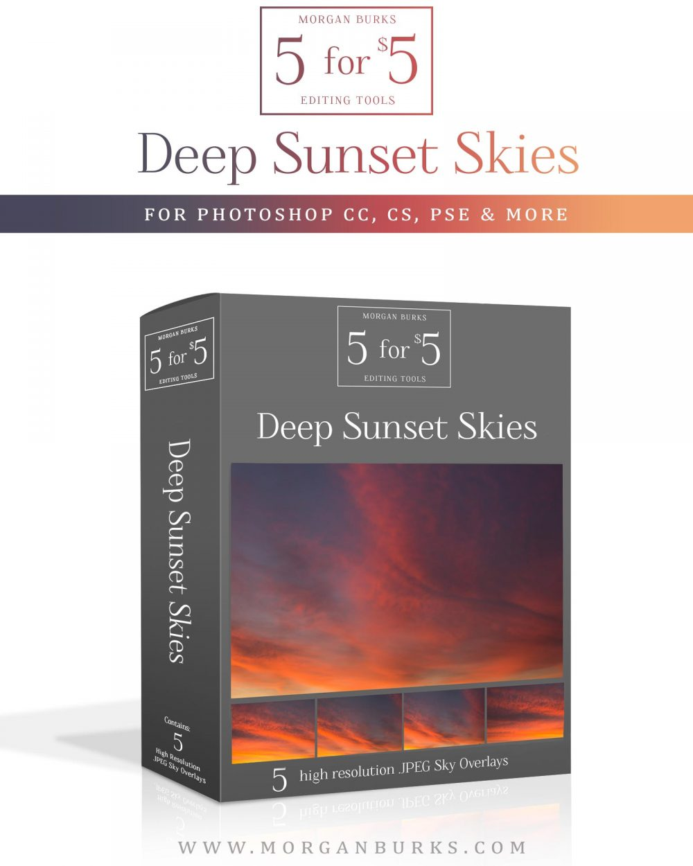Deep Sunset Sky Overlays for Photoshop & Elements - $5 Editing Products for Photographers. Easy to use and affordable!