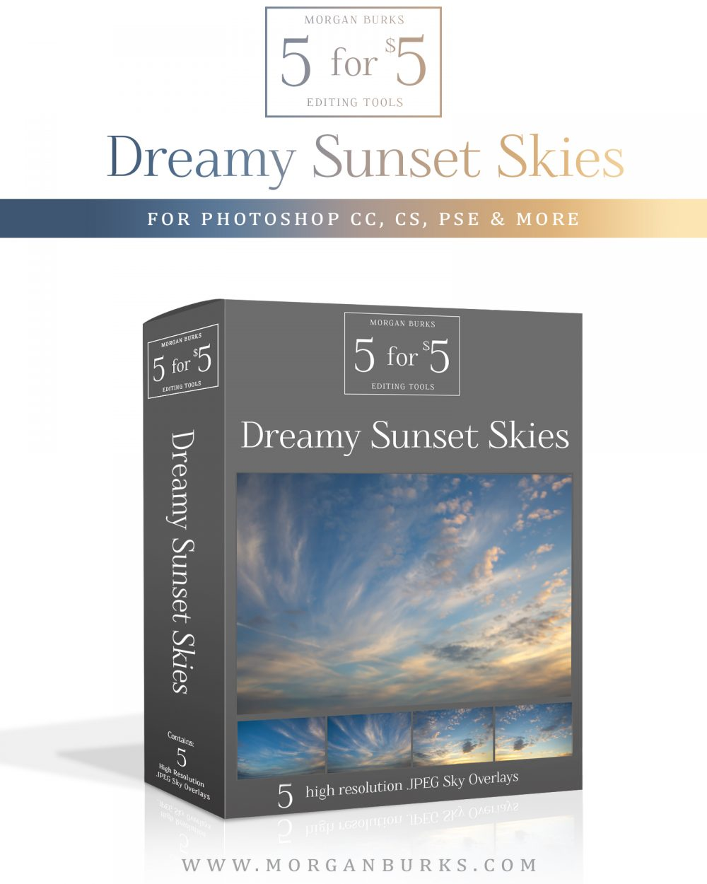 Dreamy Sunset Sky Overlays for Photoshop & Elements - $5 Editing Products for Photographers. Easy to use and affordable!