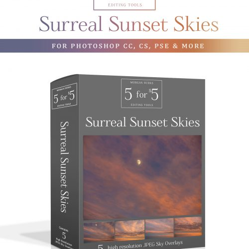 Surreal Sunset Sky Overlays for Photoshop & Elements - $5 Editing Products for Photographers. Easy to use and affordable!