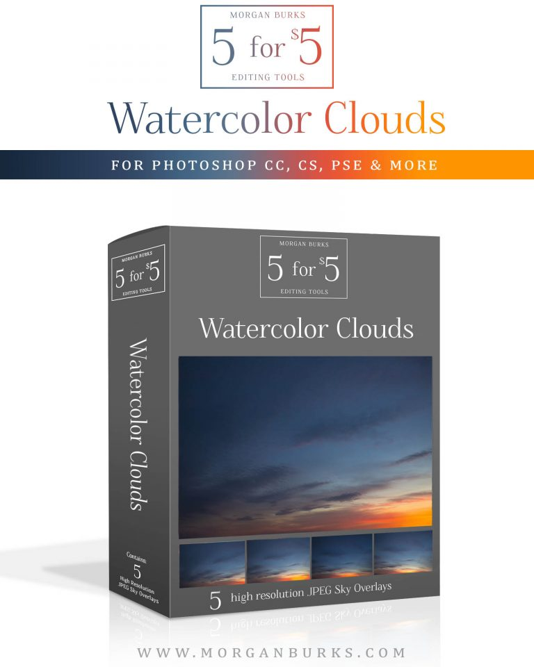Watercolor Clouds Sky Overlays for Photoshop & Elements - $5 Editing Products for Photographers. Easy to use and affordable!