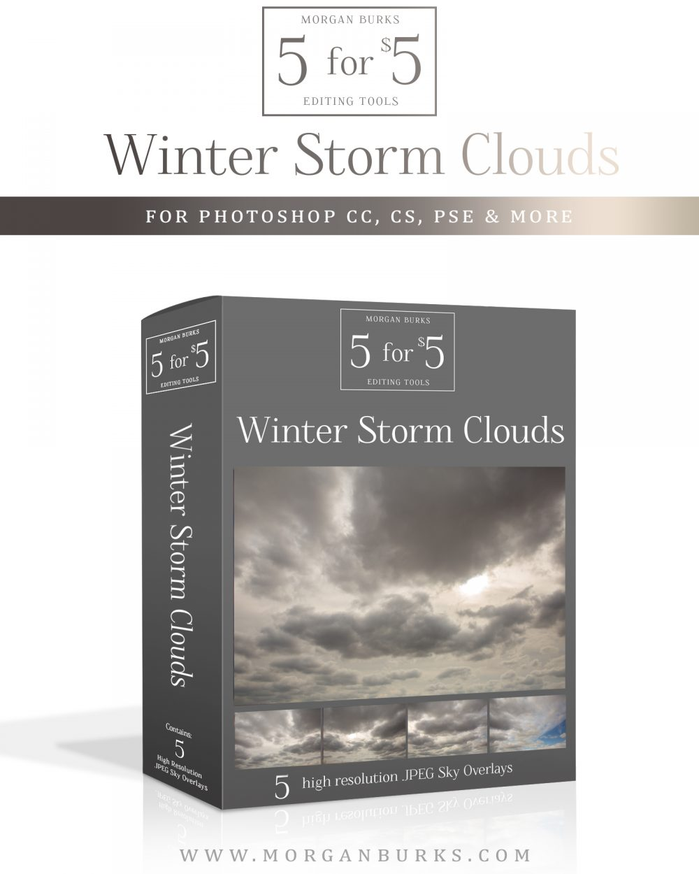 Winter Storm Sky Overlays for Photoshop & Elements - $5 Editing Products for Photographers - Easy to use & affordable!