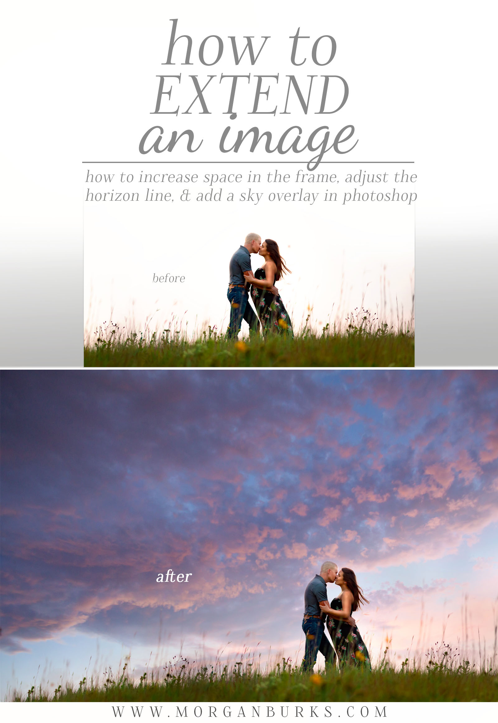 Free Photoshop Tutorial - How to extend an image and add a sky overlay.