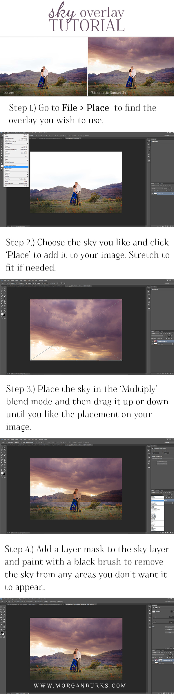 This sky overlay tutorial will show you step by step how to apply Sky Overlays in Photoshop. | Find more free tutorials + editing products at www.morganburks.com