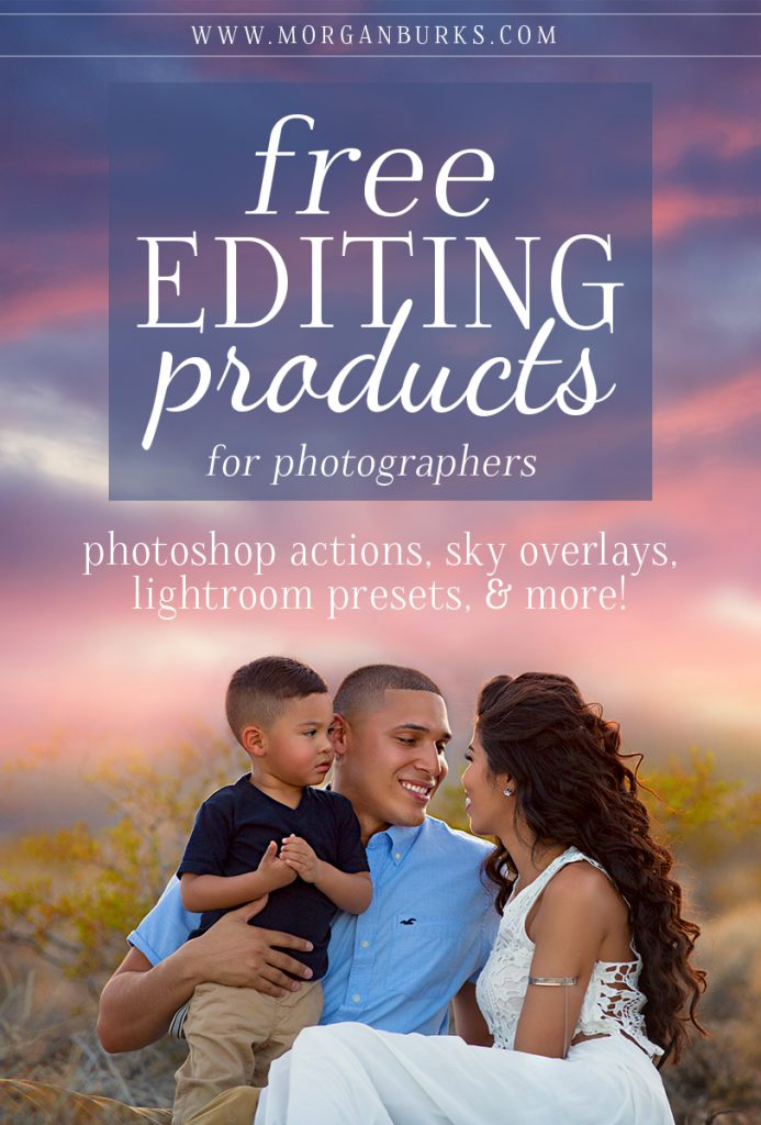 Sky Overlays, Photoshop Actions, Lightroom Presets & more! Check out this post full of free editing products for photographers. | www.morganburks.com