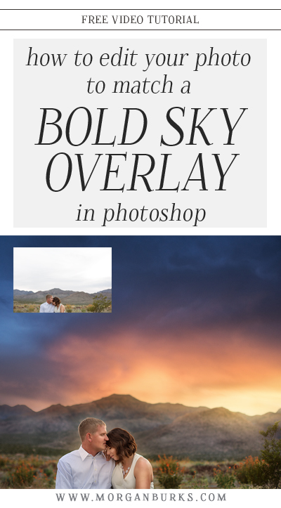 Learn how to add a bold sky overlay to your photo, and then edit the colors and tones of the photo to match the sky. | Find more free products and tutorials for photographers at www.morganburks.com