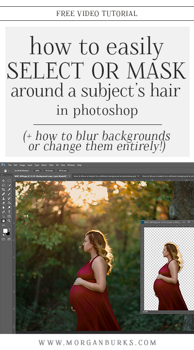 This free tutorial will explain how to mask hair and blur or change backgrounds in Photoshop! | Find more photography tips & free tutorials at www.morganburks.com