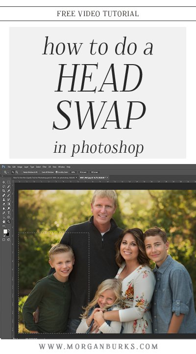 In this free tutorial, learn how to do a head swap in Photoshop and merge two photos together to get the best expressions from all of your subjects in one frame! Find more photography tips and free photoshop tutorials at www.morganburks.com
