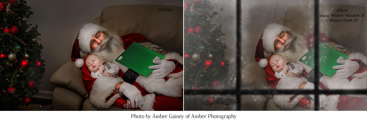 Make your photos look like they were taken through a snowy window with the Winter Window Overlays from MorganBurks.com!