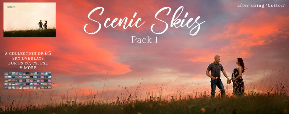 Scenic Skies Pack 1 - 65 Sky Overlays for Photoshop CC, CS, PSE & More