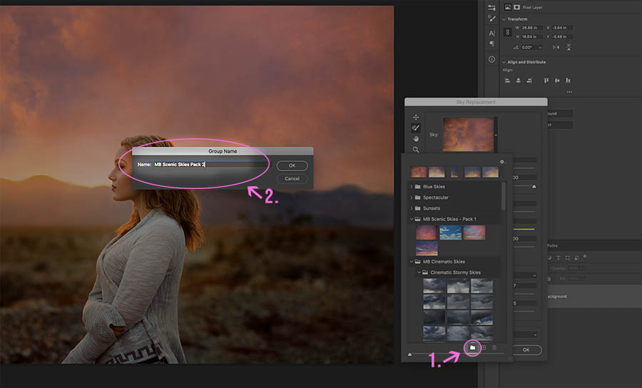 Step 3. Create a new group and name it   Learn how to add sky overlays to the sky replacement panel in Photoshop CC 2021 with this free tutorial.   Find more free tutorials and editing tools at www.morganburks.com